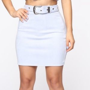 Fashion nova baby blue suede silver buckle skirt